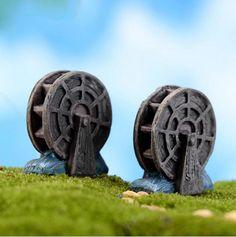 [Visit to Buy] Water Wheel Miniature Figures Figurine decoration Fairy garden Accessories Birthday Cake Car cartoon statue resin craft TNB098 #Advertisement