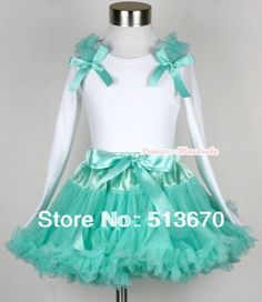 36.98$  Buy here - http://difta.justgood.pw/ali/go.php?t=752782996 - Aqua Blue Pettiskirt with Matching White Long Sleeve Top with Aqua Blue Ruffles & Aqua Blue Bow MAMW163 36.98$