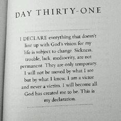 I declare... God's vision for me