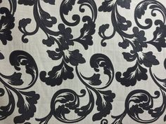 Black vintage floral flower pattern Cream by TheFabricShopUK