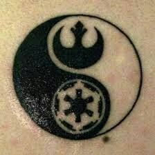 Yin Yang tattoo with Rebel and Empire crests.