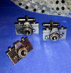 Men's New Photographer Photo Camera Silver Cufflinks by Lynx2Cuffs, $27.99