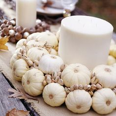 Miniature Pumpkins Wreath Tiny white pumpkins, found with other common fall gourds, cover a straw wreath. Secure pumpkins on the wreath with glue. Fill the open spaces with pistachios. Better Homes And Gardens, Fall Home Decor, Holiday Decor, White Pumpkins, Mini Pumpkins, Elegant Centerpieces, Autumn Decorating, Decorating Ideas, Decor Ideas