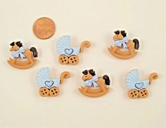 Scrapbooking Sewing Buttons Baby Boy Pastel Blue Rockin Horse Carriage Embellish   Crafts, Multi-Purpose Craft Supplies, Crafting Pieces   eBay!