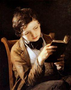 Boy Reading, 1861. Johann Baptist Reiter (). Oil on canvas. Austrian Gallery.