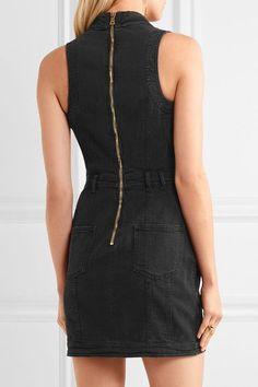 Balmain - Distressed Denim Mini Dress - Black - FR40