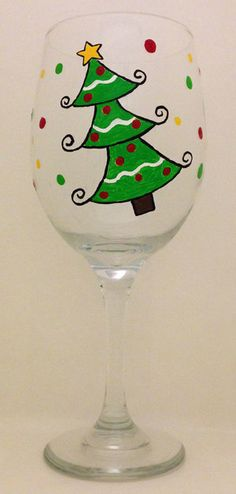 Hand Painted Christmas Tree Wine Glass