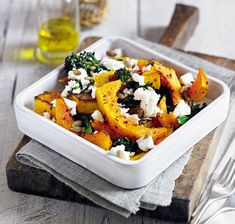 Roast squash with feta, pumpkin seeds and sprouting broccoli