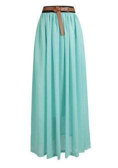 Green High Waist Floor Length Loose Chiffon Skirt
