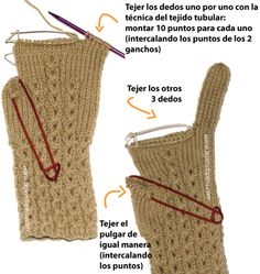 Cómo tejer guantes en dos agujas o palitos en forma tubular!