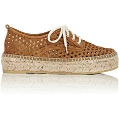 Loeffler Randall Women's Alfie Perforated Espadrilles (€200) ❤ liked on Polyvore featuring shoes, sandals, brown, flat sandals, brown flat shoes, lace up flat sandals, suede lace up sandals and suede shoes