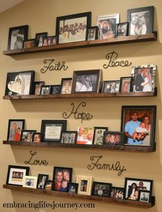 Creative Ways Diy Picture Shelves Photo Walls Hallways 70 is part of Room Decor DIY Pictures - Related Hm Deco, Family Pictures On Wall, Shelves For Pictures, Family Picture Walls, Pink Hotel, Picture Arrangements, Wall Decor Arrangements, Shelf Arrangement, Photo Arrangement
