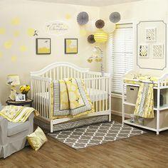 The Peanut Shell Stella 4 Piece Crib Bedding Set Yellow Gray Nursery