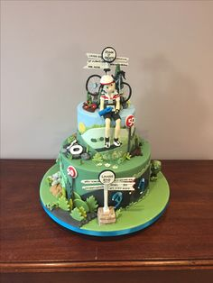 birthday cake for a cyclist fanatic Bicycle Cake, Bike Cakes, Birthday Cakes For Men, 1st Boy Birthday, Cake For Husband, Cupcakes, Gorgeous Cakes, Fondant Cakes, Themed Cakes