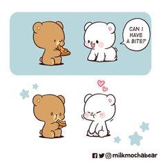 Cute Couple Comics, Cute Couple Cartoon, Cute Cartoon Pictures, Cute Love Cartoons, Cute Images, Cute Pictures, Bear Gif, Cute Bear Drawings, Chibi Cat