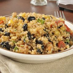 Mexican Quinoa: 1/2 cup cooked quinoa tossed with 1/4 cup each black beans and thawed corn kernels, 1 diced red pepper, and chipotle chili powder to taste