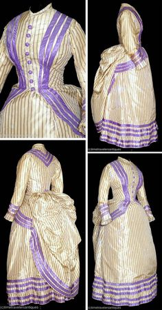 Day dress ca. 1882. Two-piece striped silk taffeta. Lined & stayed polonaise-style bodice with bunted bustle and self-fabric buttons at front closure. Lined skirt has back opening and matching lavender trim at two-tier ruffled hem. Time Travelers Antiques via Extant Gowns