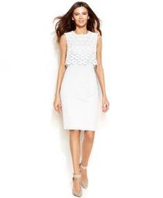 Calvin Klein Sleeveless Circle-Lace Popover Sheath | macys.com