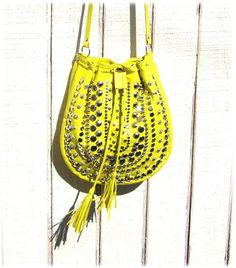 Neon yellow studded cross body purse
