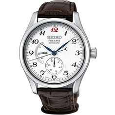 Seiko Presage automatic watch for men. Brown leather strap and blue hands on a white dial. Seiko Presage, Crocodile, Brown Leather Strap Watch, Automatic Watches For Men, Brown Band, Bracelet Cuir, Seiko Watches, Beautiful Watches, Smartwatch
