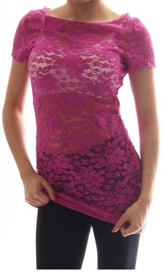 """Magenta Floral Lace Short Sleeve from Sparckily -- This is a great textured layering piece for summer!  Not too hot!  I just bought it in four colors. :)  (I think the site has it misspelled as """"magneta"""")"""