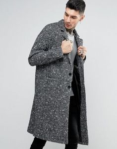 ASOS Textured Overcoat In Black and White