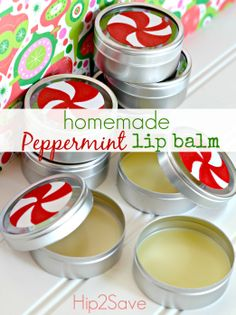 Homemade Peppermint Lip Balm    * 1 and 1/2 Tablespoon Natural Beeswax  * 1 Tablespoon Coconut Oil  * 1 Tablespoon Shea Butter  * 2 Tablespoon Sweet Almond Oil (or Olive Oil)  * 20 drops Peppermint Essential Oil  * Small metal tins with lids