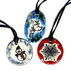 Holiday 3 pack Ceramic Necklaces by surly on Etsy, $36.00