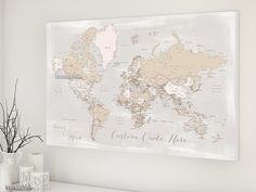 Custom quote - World map canvas print, map wiht cities, neutrals map, distressed world map canvas, rustic world map, rustic decor map141 131 Anniversary gift for him, personalized map. Custom quote, custom names, highly detailed world map poster grayscale watercolor map map151 029 Christmas gift husband gift boyfriend gift
