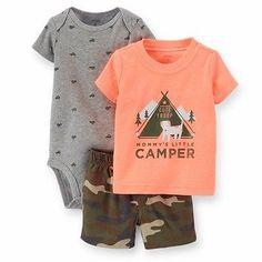 Carter's Baby Boys 3 Pc Bodysuit Tee Shorts Multi Size 9 Months