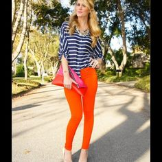 Skinny Jeggings Gorgeous orange skinnies that will turn heads every where you go! Well made, a great fit and lightweight which is perfect for the summer heat. You can't go wrong with these- get the expensive look without the price tag. Fade To Blue Jeans Skinny