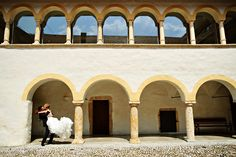 Bride and groom kissing on the wedding at Jablje Castle, Slovenia  www.samorovan.com