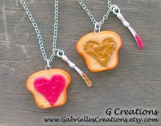 PB & Jelly Best Friend Necklace Set of 2  by GabriellesCreations