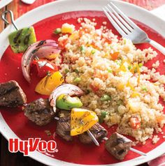 Make Sirloin Steak and Vegetable Kabobs with Quinoa Salad in stages. Make the quinoa. Marinate the steaks. Put the quinoa salad together. Grill the kabobs. Eat.