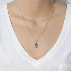 Sterling Silver Mini Teardrop Hammered Necklace £18.00