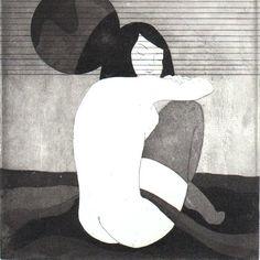 Original Etching SHY GIRL IV Aquatint Nude Poetic by AnaDoraArt, $50.00