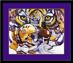 """Fighting Tigers"" LSU Framed Picture. Beautiful Graphics!"