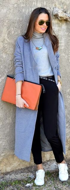 Blue And Black Pop Of Orange Winter Outfit by Look For Time