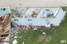 Aerial views of Hurricane Harvey damage is seen in Port Aransas, Texas, July 28, 2017. Hurricane Harvey formed in the Gulf of Mexico and…