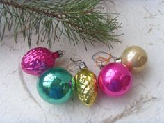Set of 5 Soviet Vintage Christmas Ornaments Made in USSR by Astra9, $12.50