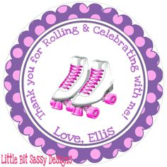 Roller Skating Birthday Party Favors Stickers Round Labels Roller Skates Polka Dots. $5.00, via Etsy.