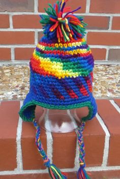 Rainbow Colored Kids Chullo Hat  Crochet Hat  by OneInEssence, $12.00