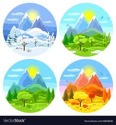 Four seasons landscape with trees vector image on VectorStock Free Vector Images, Vector Free, Ap Drawing, Soft Pastel Art, Paint Cards, Four Seasons, Illustrators, Paper Art, Decoration
