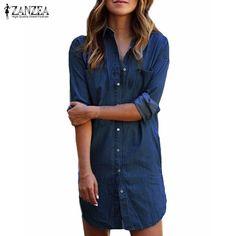 ZANZEA Women Autumn Long Sleeve Buttons Pockets Blue Denim Mini Dress 2017 New Fashion Casual Loose Shirt Dress Short Vestidos