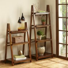 Ladder Shelves | Designed to fold for convenient storage, each well-crafted shelf is durable and sturdy, 3-tire and 4-tier Ladder Bookcase (each sold separately). www.countrydoor.com