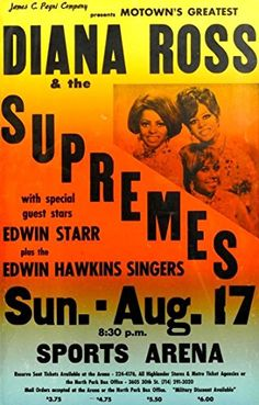 """Diana Ross & The Supremes Plus Edwin Starr."" Fantastic Print Taken from A Vintage Concert Poster by Design Artist http://www.amazon.co.uk/dp/B00Y2NYC4Q/ref=cm_sw_r_pi_dp_vCWxvb0AQFBSZ"