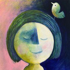 Maan meisje #painting #illustrator #illustration #portrait