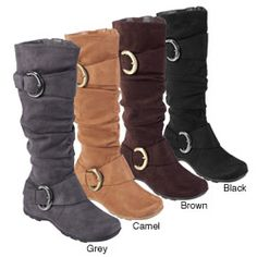 Bamboo by Journee Women's Slouch Boots with Buckle