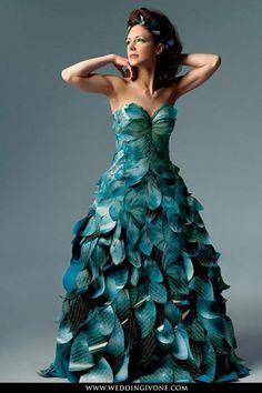 unique custom leaf style strapless wedding dress