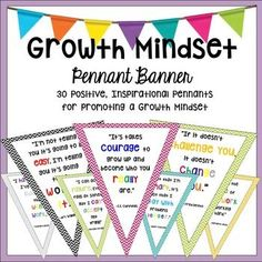 Promote a Growth Mindset while decorating your classroom with this COLORFUL and INSPIRATIONAL Pennant Banner! Each pennant has a different quote encouraging your students to have a Growth Mindset!Some of the Notable People Quoted Include:Thomas Edison Maya AngelouVince LombardiE.E.